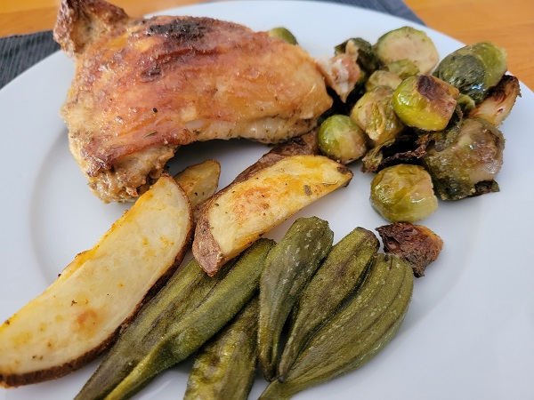oven roasted chicken thighs with Brussels sprouts and okra