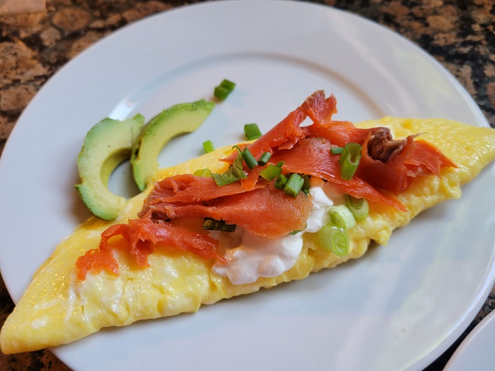 salmon chive omelet