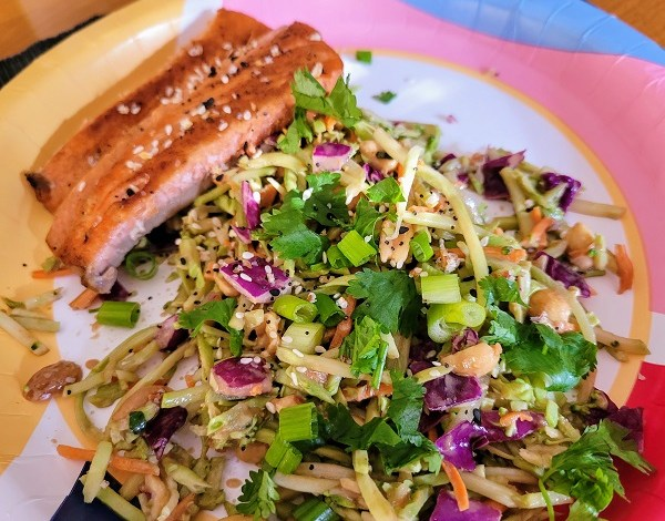 salmon with broccoli slaw