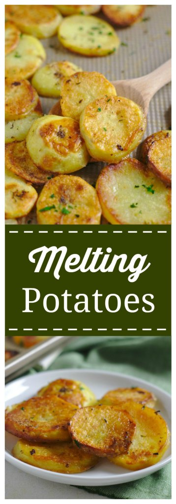 Melting Potatoes - An incredible side dish packed with flavor that will melt in your mouth! Yukon gold potatoes sliced and baked in a blend of seasonings, butter, and broth. Tender on the inside, crispy on the outside.  Melting Potato Recipe | Potato Recipe | Side Dish Recipe #potato #easyrecipe #recipe #sidedish #melting #potatoes