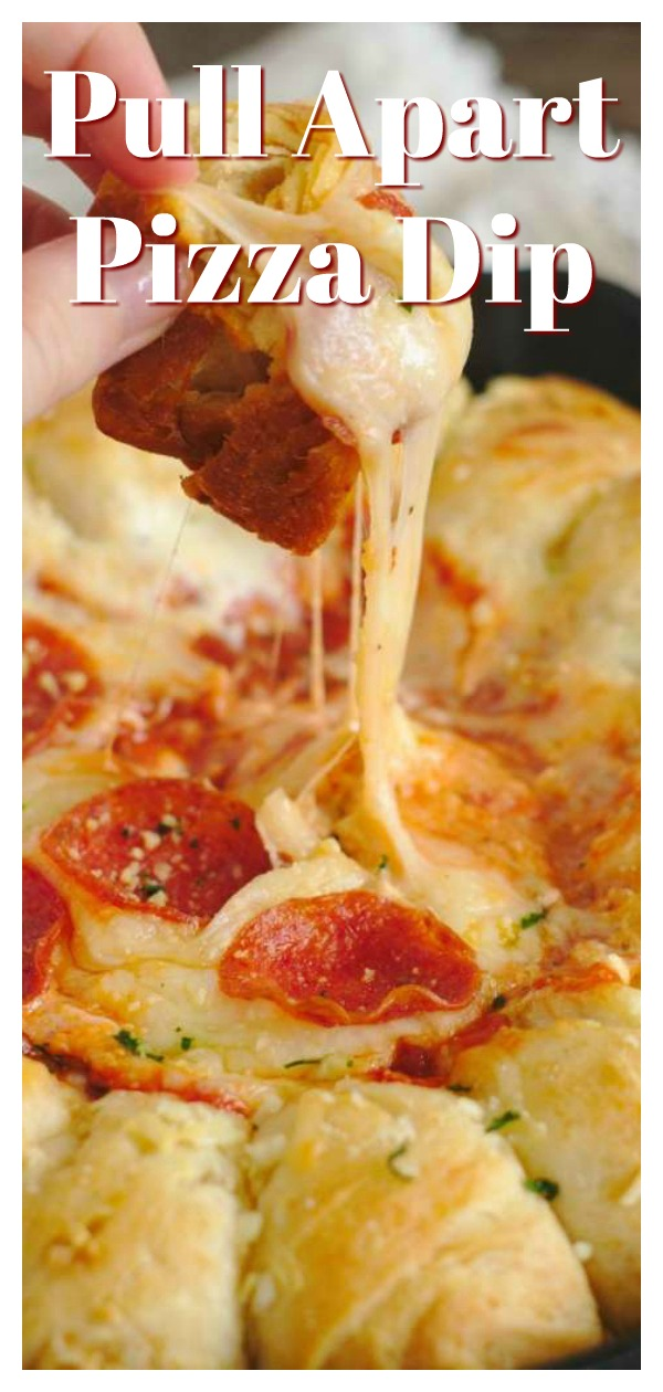 Garlic Bread Pizza Dip - The ultimate appetizer for pizza fans! This pizza dip has a ring of pull apart garlic bread with an addicting cheesy dip inside topped with marinara sauce and pepperoni. Perfect for game day or a party! Pizza Dip Recipe | Pull Apart Dip | Easy Pizza Appetizer