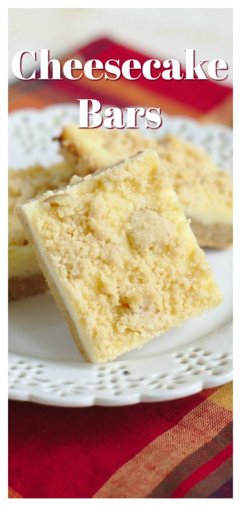 Cheesecake Bars - Delicious layered bars with a sugar cookie crust, cheesecake filling, and a crumb topping. Perfect for cheesecake fans! Cheesecake Recipe | Easy Cheesecake Bar Recipe | Cheesecake Bars #dessert #recipe #cheesecake