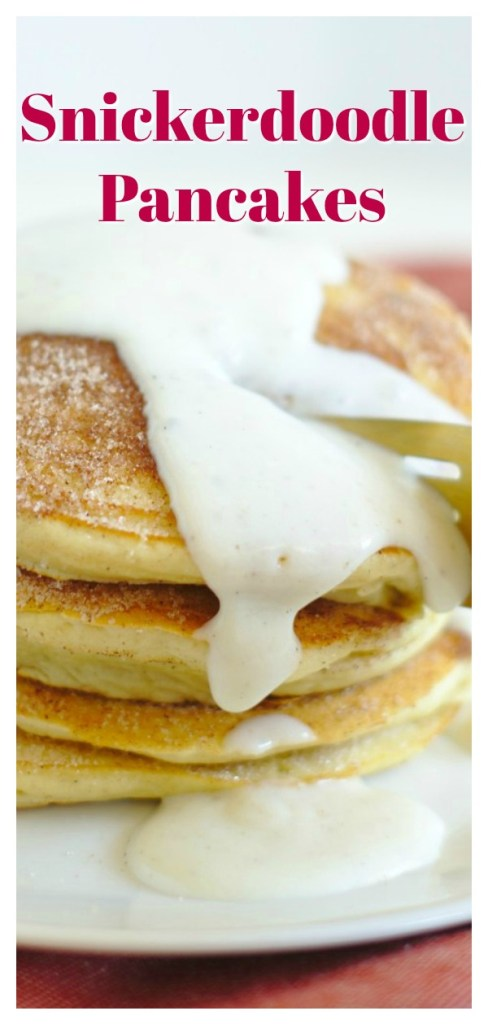 Snickerdoodle Pancakes - All of your favorite snickerdoodle cookies flavors in a simple pancake recipe! Cinnamon vanilla pancakes topped with cinnamon sugar and a homemade vanilla sauce! This is the best pancake recipe for snickerdoodle fans! Easy Pancake Recipe   Cinnamon Pancakes   Pancakes Recipe