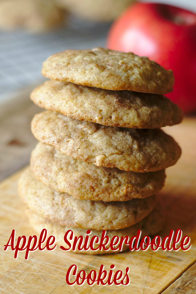 Apple Snickerdoodle Cookies – A delicious fall dessert made with fresh apples and homemade snickerdoodle cookie dough rolled in cinnamon sugar! #fall #apple #cookies #dessert #easydessert #recipe #easyrecipe #snickerdoodle