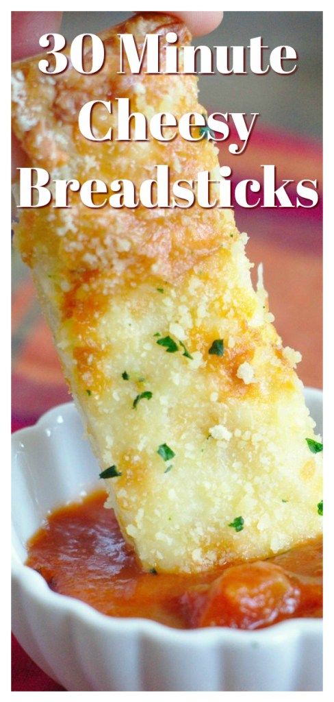 30 Minute Cheesy Breadsticks - A quick and easy side dish made with just 5 simple ingredients. Perfect served with pasta or pizza! Breadstick Recipe   Easy Bread Recipe   Cheese Bread Recipe #bread #breadsticks #appetizer #sidedish #recipe #easyrecipe