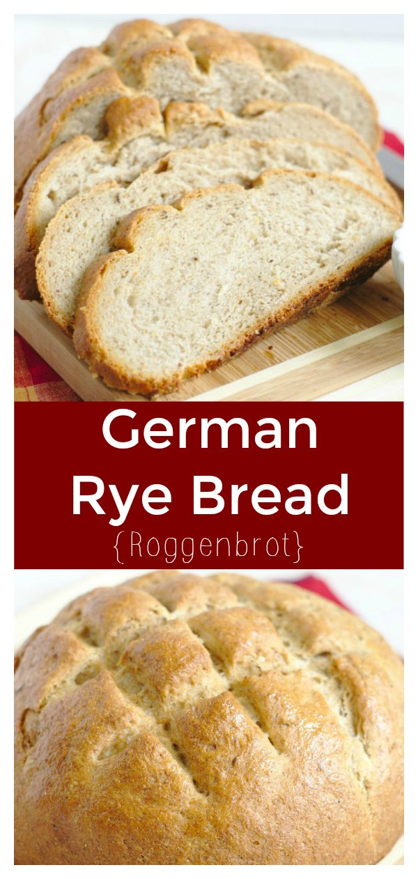 German Rye Bread (Roggenbrot) - Delicious homemade bread made with rye flour and caraway seeds.  This bread recipe is easy to make and great for sandwiches! Rye Bread | Bread Recipe | German Bread #bread #baking #recipe #german #easyrecipe