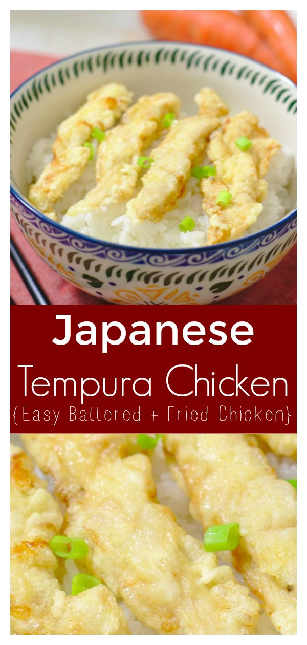 Chicken Tempura - Light and crispy breaded chicken deep fried until golden brown! Chicken tempura is perfect served over rice as a easy meal! Japanese Recipe   Tempura Recipe   Chicken Tempura Recipe #japanese #chicken #tempura #dinner #recipe #easyrecipe #dinnerrecipe #japaneserecipe