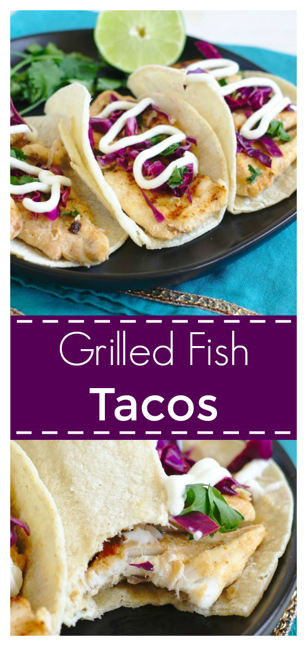 Grilled Fish Tacos - A quick and easy meal that is perfect for summer grilling season.  Fresh whitefish marinaded in a flavorful Mexican-inspired sauce along with tasty toppings makes this taco perfect! Grilled Fish Tacos | Fish Tacos | Taco Recipe #fish #taco #tacos #lent #seafood #dinner #easydinner #recipe #easyrecipe