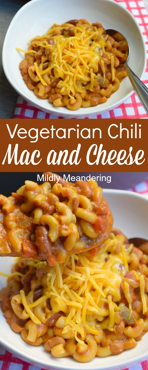 Looking for a hearty yet meatless meal? Vegetarian Chili Mac and Cheese is filling, flavorful and is a delicious one-pot meal in 30 minutes or less.