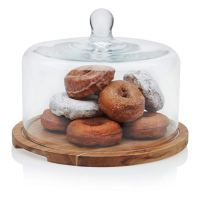 Libbey Acaciawood Flat Round Wood Server Cake Stands with Glass Dome