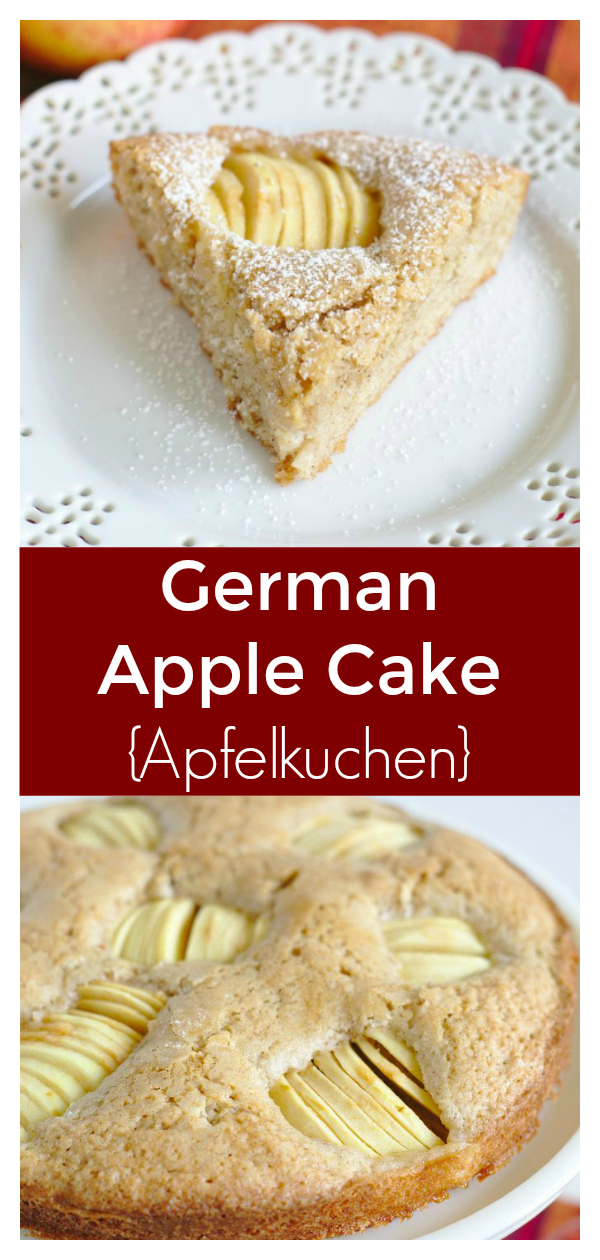 German Apple Cake (Apfelkuchen) - A classic German apple cake ready in just 45 minutes! Flavorful butter cake with whole sliced apples topping it! Apfelkuchen Recipe | German Apple Cake | German Dessert Recipe #apple #fall #fallbaking #german #dessert #cake