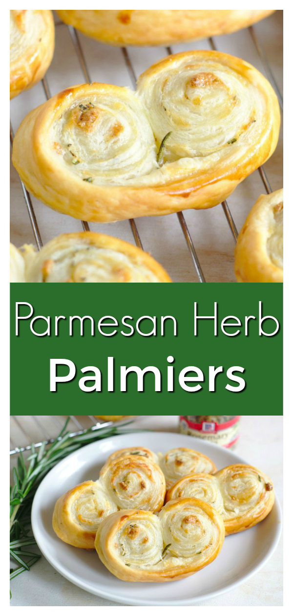 Parmesan Herb Palmiers - A delicious French appetizer perfect for the holidays.  Herbs, garlic, and cheese in light and fluffy puff pastry.  French Appetizer | Holiday Appetizer | Savory Palmier Recipe #appetizer #thanksgiving #christmas #french #recipe #easyrecipe