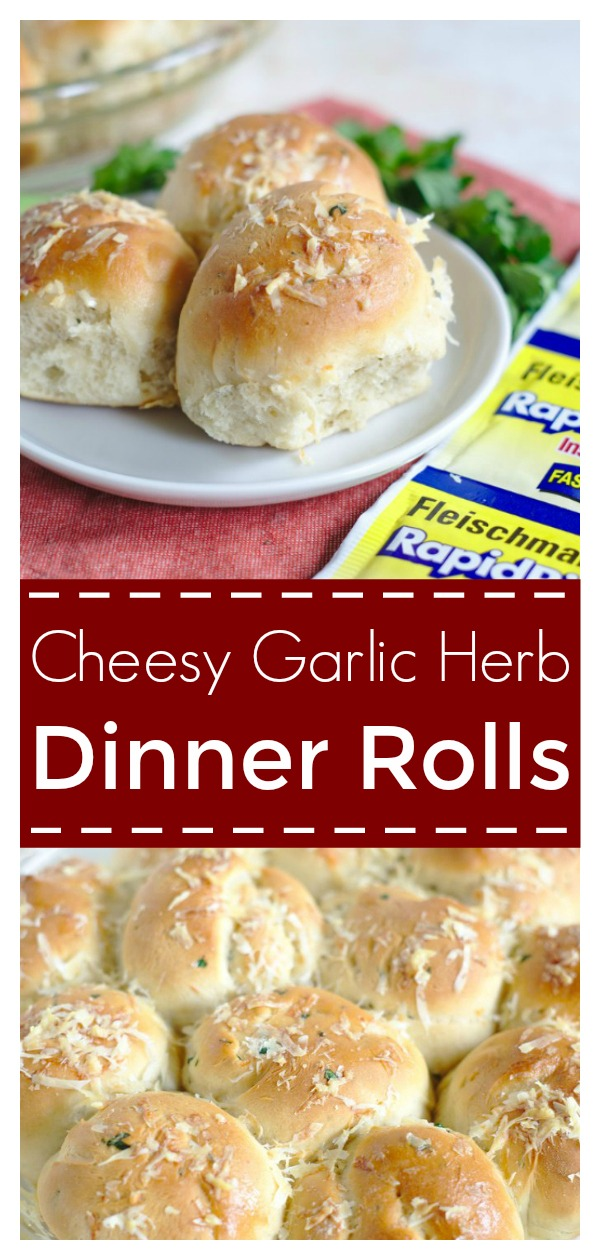 Cheesy Garlic Herb Dinner Rolls - Super easy dinner roll recipe ready in less than 90 minutes! Perfect for the holidays! Christmast Recipe | Dinner Roll Recipe | Bread Recipe | Holiday Recipe #bread #recipe #easyrecipe