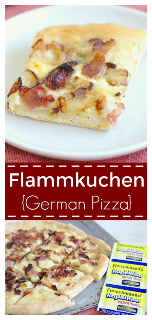 Flammkuchen (German Pizza) - A classic pizza recipe from the border of France and Germany! Homemade pizza dough, creme fraiche, bacon, onions, and gruyere. German Pizza Recipe | Flammkuchen Pizza | White Pizza Recipe