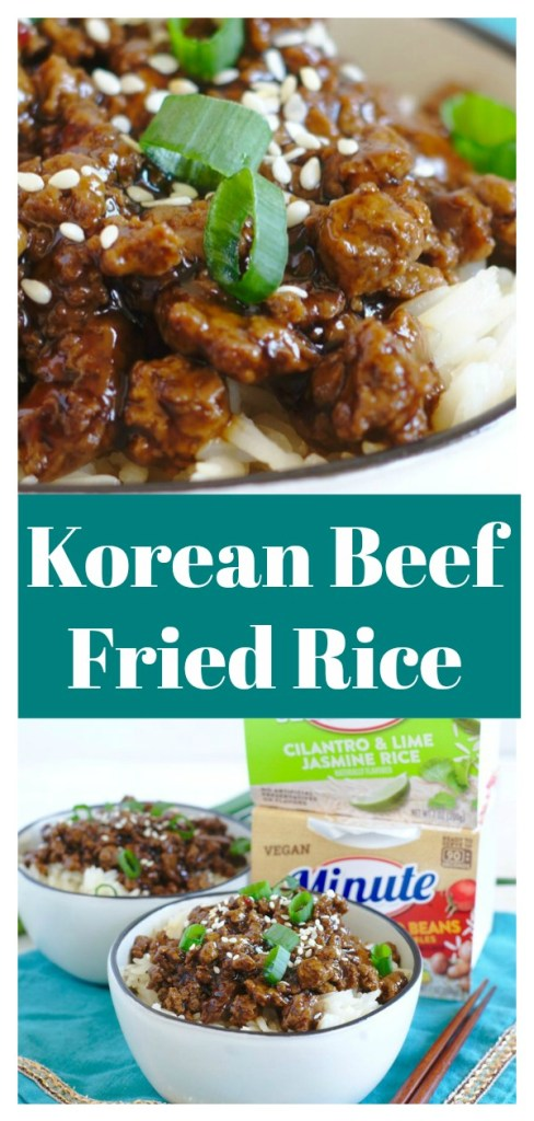 Korean Beef Fried Rice - A quick and easy meal inspired by a favorite Korean dish! All you need is less than 20 minutes and 6 simple ingredients. Korean Recipe | Asian Recipe | Asian Beef Recipe