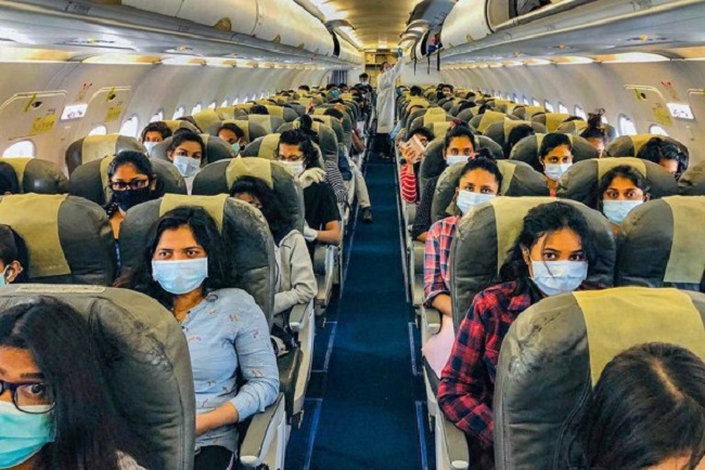 When flying in an Airplane