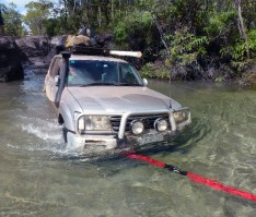 Pulling the Landcruiser through Nolan's Creek