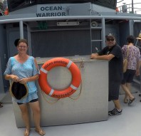 Joanne and Capt Adam Meyerson discussing wildlife conservation on the high seas.