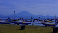 That is Mount Agung in the background on a quite morning