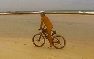 Nude on a bike