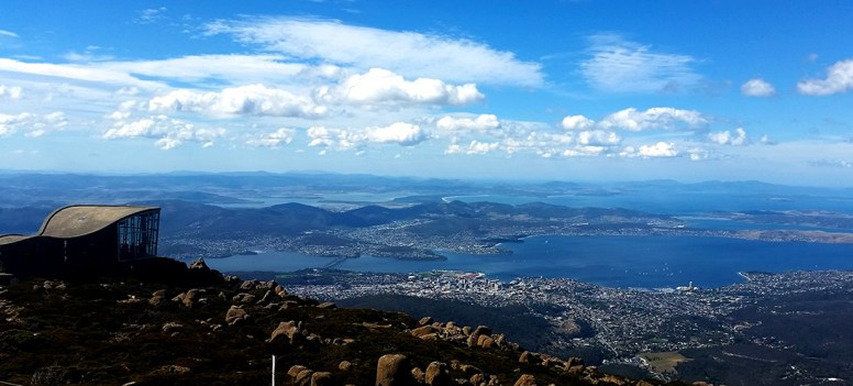 Mt Wellington, you can just see Seven Mile Beach in centre as well