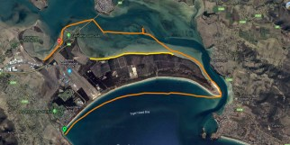 Snapshot from my Garmin GPS. The Yellow is beach walk I did next day
