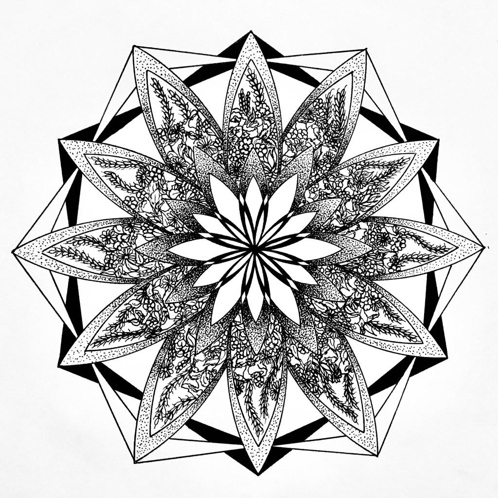 Mandala Floral. mandala complexe par Miledia Craft.