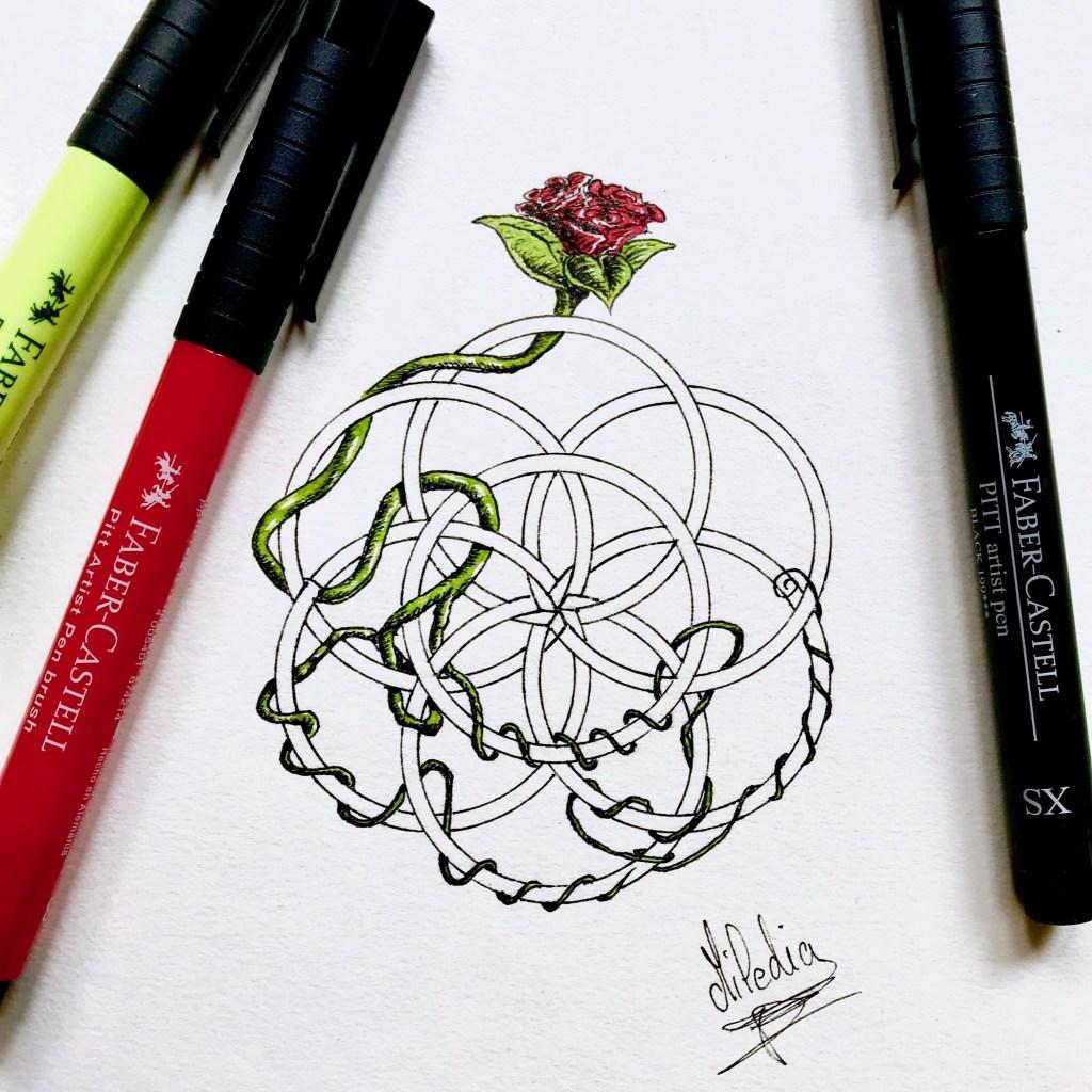 Mandala overgrown. Inktober français 2019. Par Miledia Craft. #inktober #inktoberjour14 #inktoberday14 #inktoberinspiration #dessin #dessindefleurs