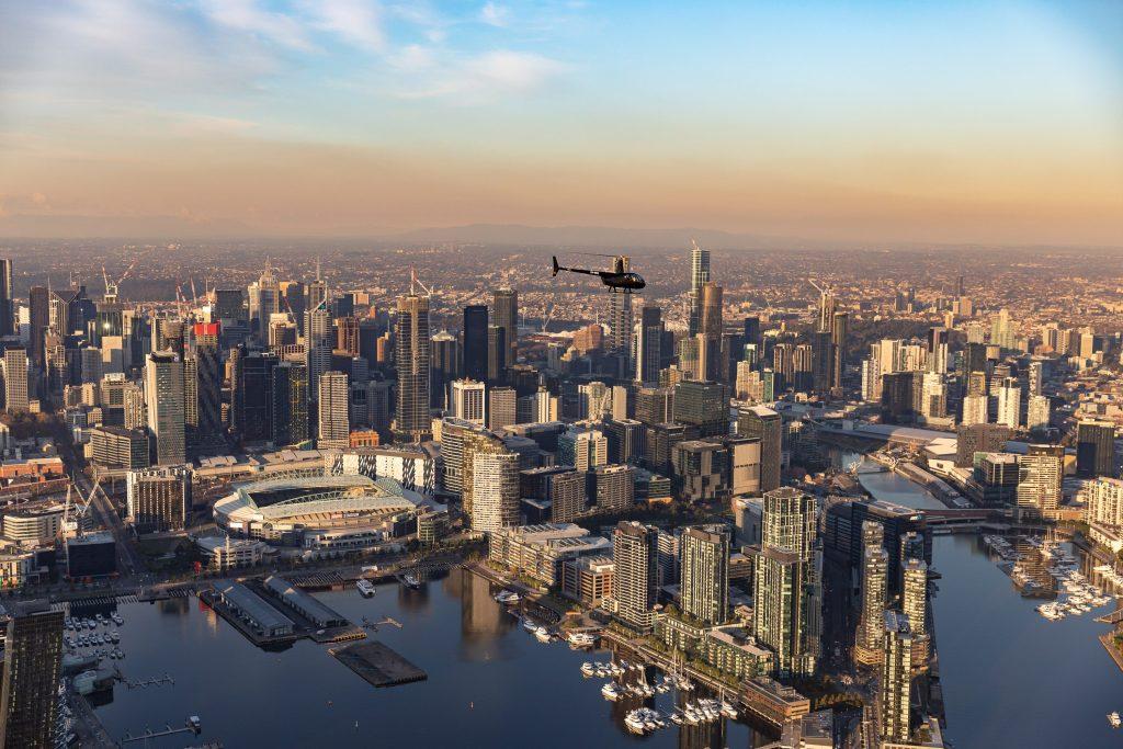 Melbourne helicopters, Melbourne City, sunset flights,