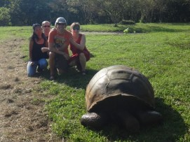 All of us with a Galapagos Tortoise.