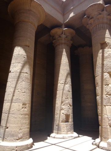 The huge columns are completely wrapped in hieroglyphs