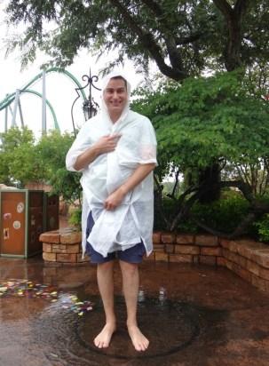 Erik, looking like the 'Birth of Venus' in the rain