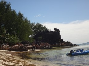 Beach landing on Curieuse Island