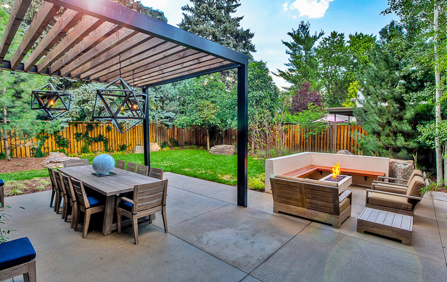 Modern Outdoor Living Space in Park Hill - Mile High ... on Contemporary Backyard  id=36485