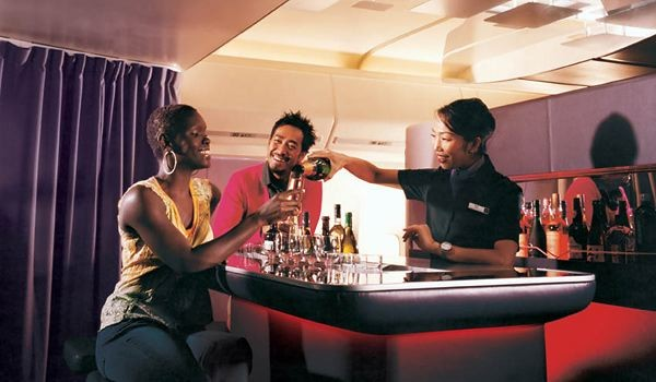 Bar on Virgin Atlantic Upper Class.  There are lounges on other planes as well, notably the a380.