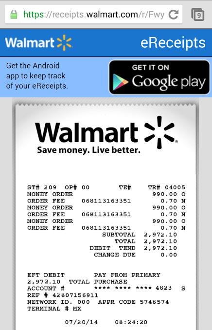 Ereceipt WalMart
