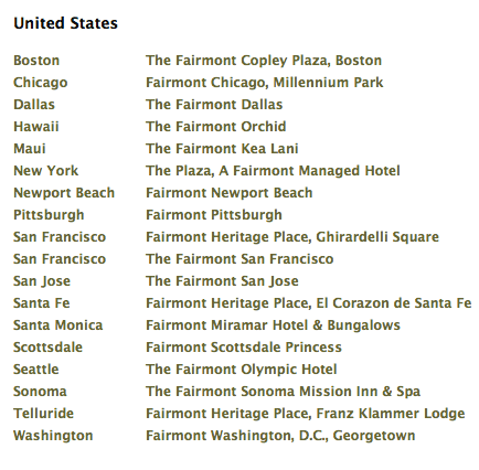 us Fairmont hotels