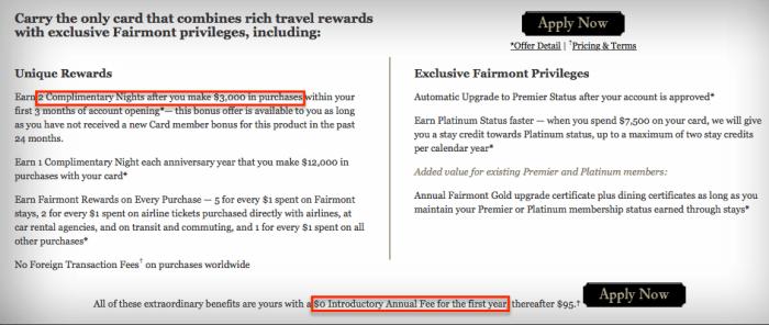 fairmont visa benefits page