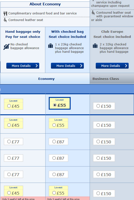 BA Booking Screen