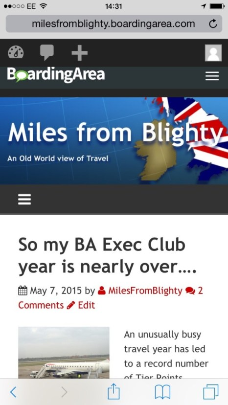 Miles From Blighty mobile site