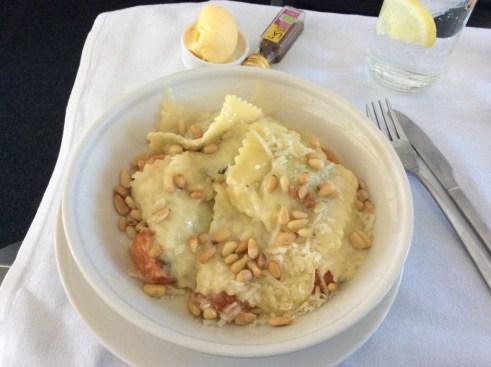 LCY-JFK Pasta dish