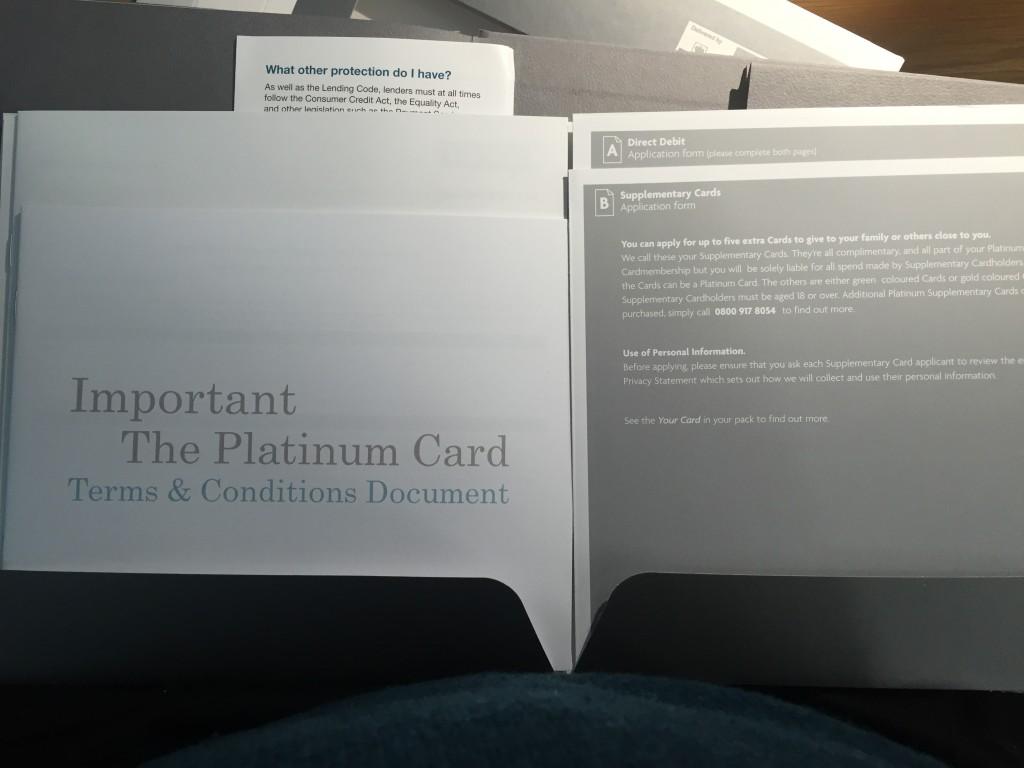 UK Platinum Amex pack