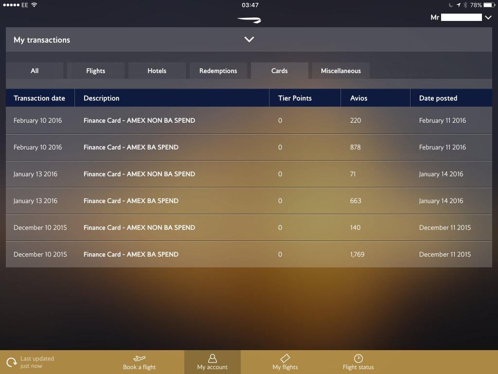 BA - Card Statement - iPad app