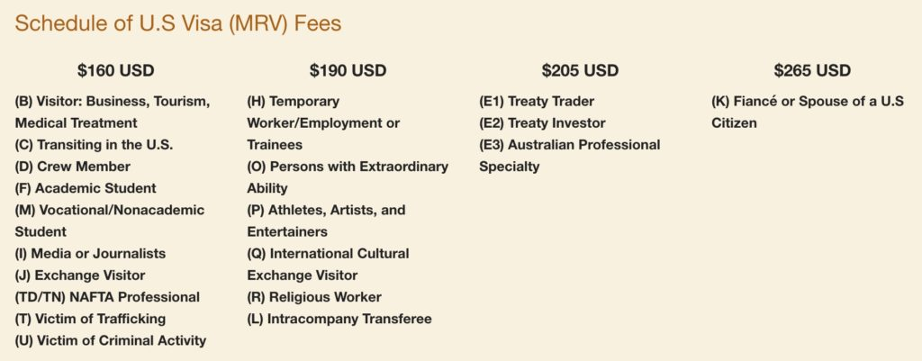 Visa Charges