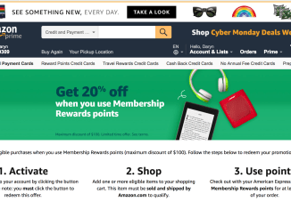 American Express card holders can save 20% shopping on Amazon during the holiday season.