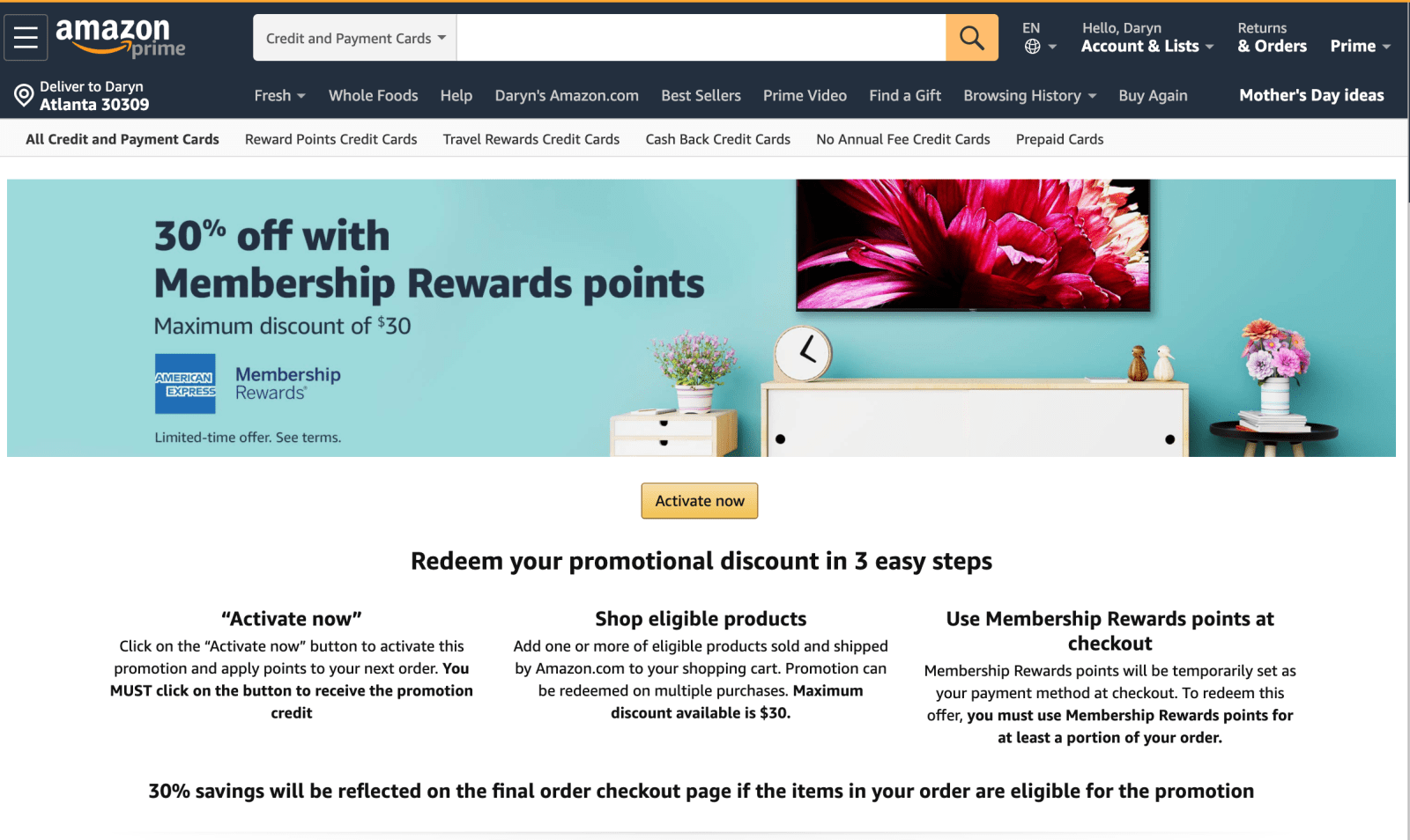 Amazon AMEX Membershp Rewards Promotion