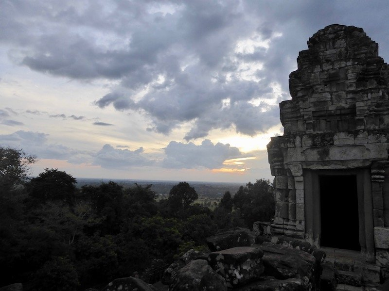 Temple with sunset in the background