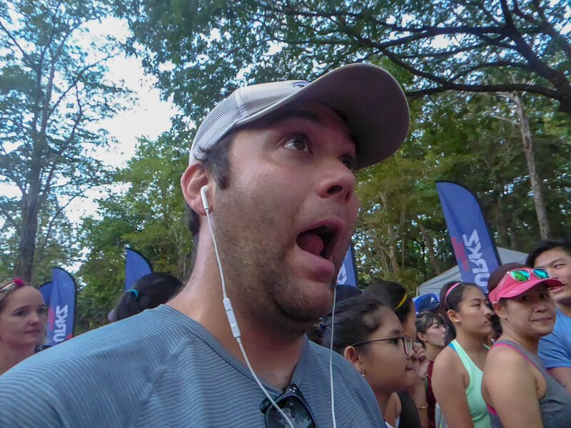 Man with headphones at start to NYRR 9 + 1 race
