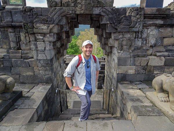 Walking in Borobodur temple in Indonesia
