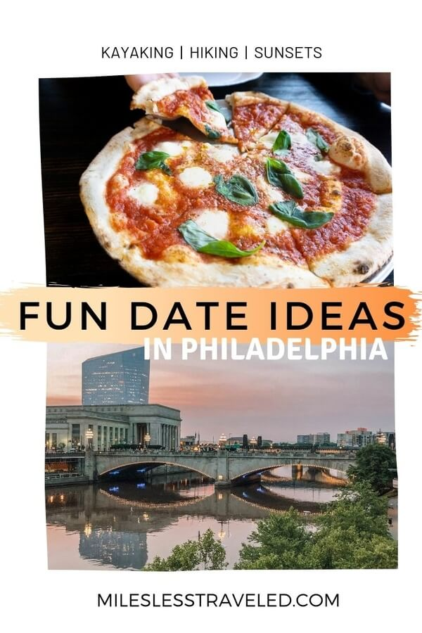 Pizza over philadelphia bridge at sunset text overlay fun date ideas in Philadelphia